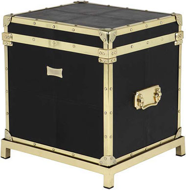 Черный сундук Eichholtz Flightcase Black Leather W/Stand
