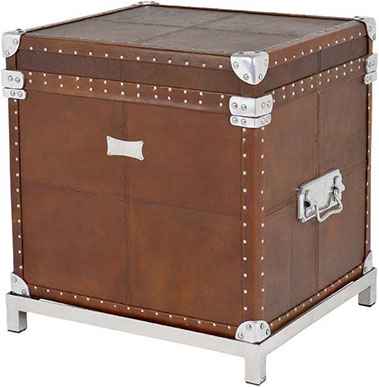 Кожаный сундук Eichholtz Flightcase Brown Leather W/Stand